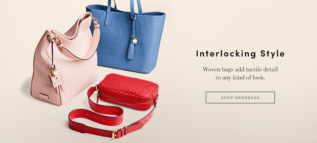 Interlocking Style - Woven Bags add tactile detail to any kind of look.