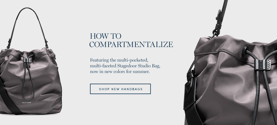 How to Compartmentalize: Featuring the multi-pocketed, multi-faceted Stagedoor Studio Bag, now in new colors for summer.