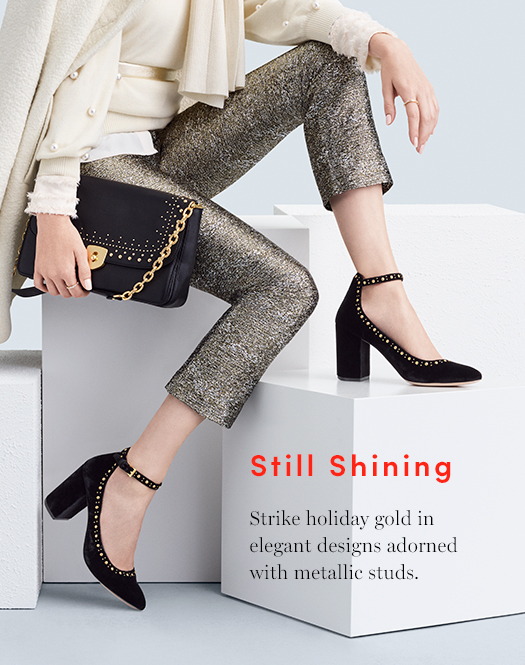 Still Shining: Strike holiday gold in elegant designs adorned with metallic studs.