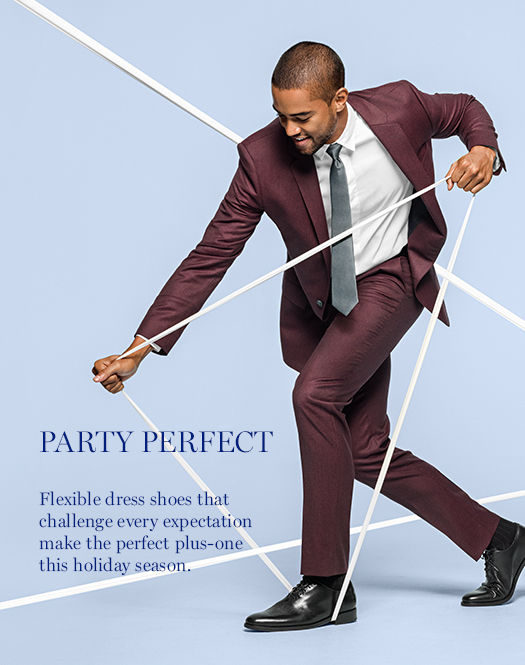 Party Perfect: Flexible dress shoes that challenge every expectation make the perfect plus-one this holiday season.
