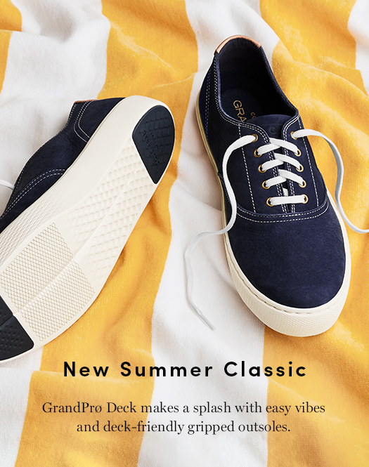 New Summer Classic - GrandPro Deck makes a splash with easy vibes and deck-friendly gripped outsoles.