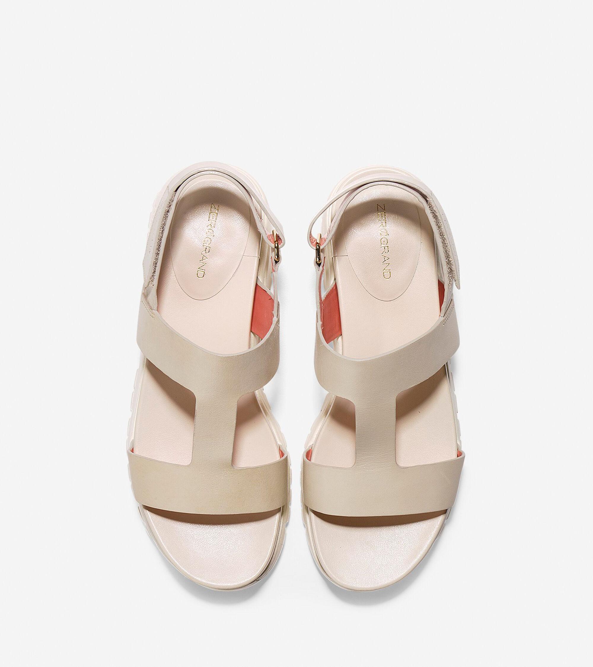 8147c4d4ef0 ZEROGRAND T-Strap Sandals in Sandshell Ivory