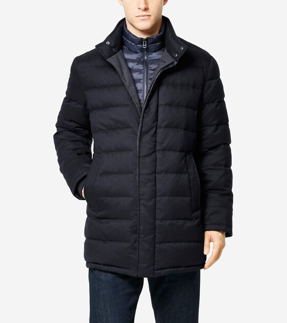 Outerwear > Flannel Down Stand Collar Coat