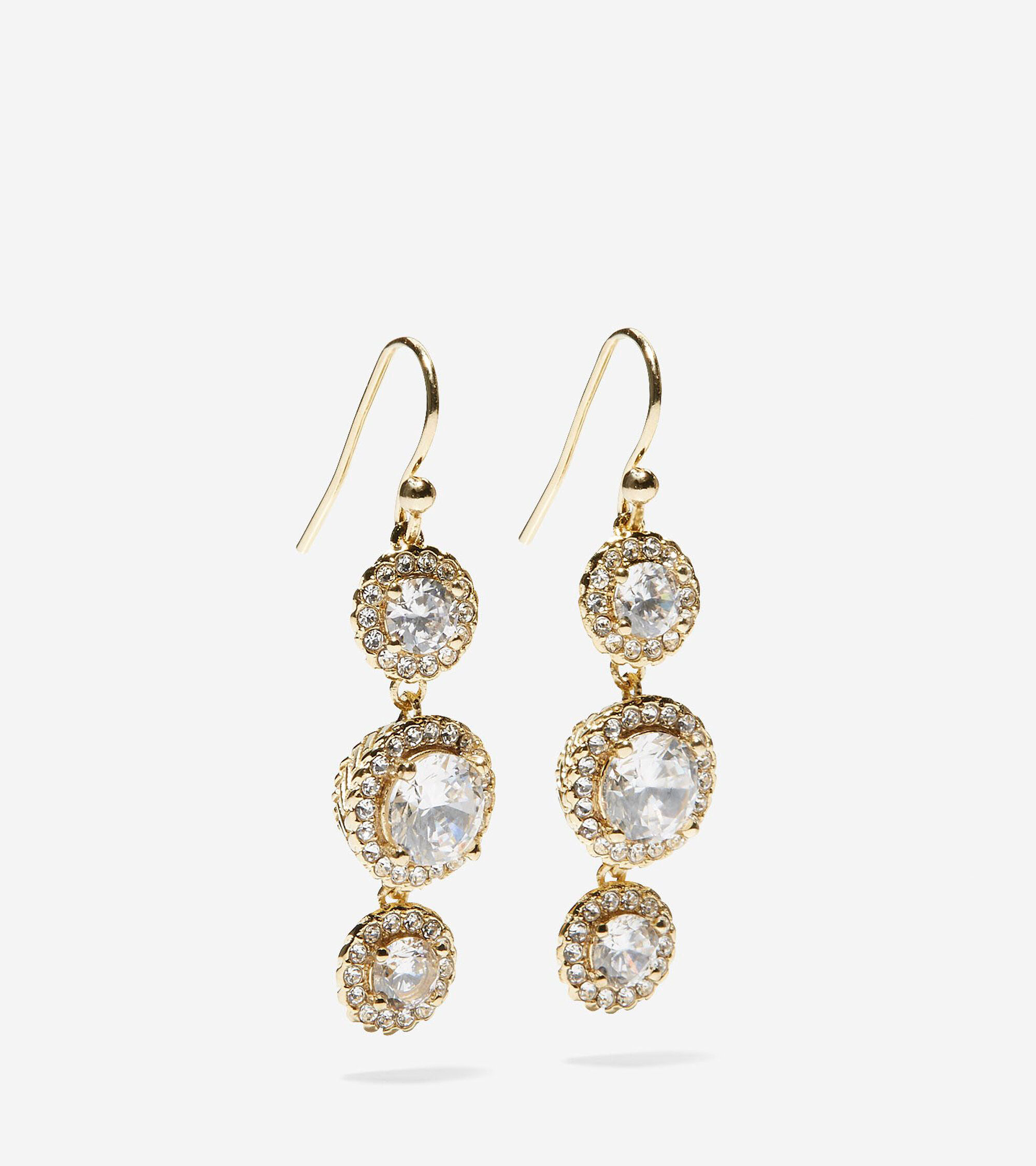 3 Stone Cz Drop Earrings