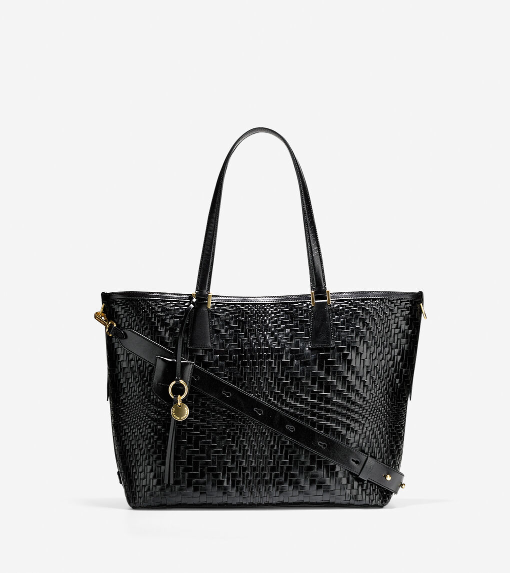 ef76be088b Women's Genevieve Weave Tote in Black Leather | Cole Haan US