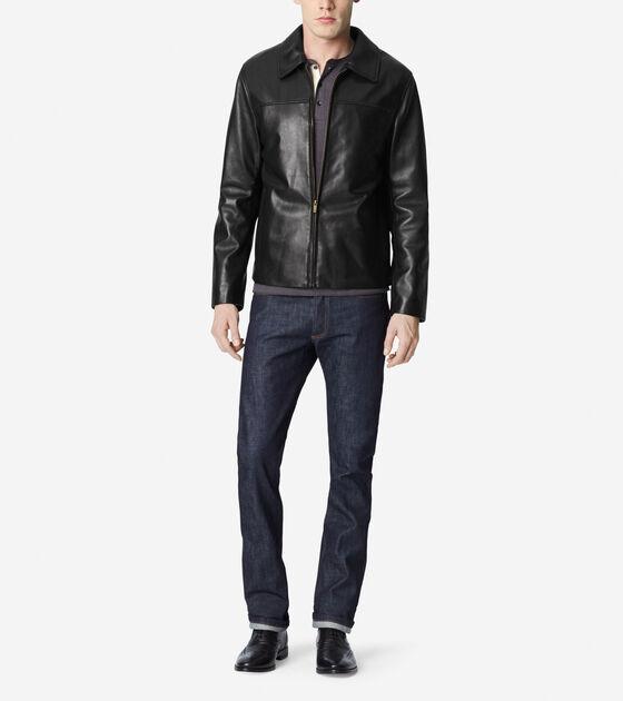 Accessories & Outerwear > Smooth Lamb Shirt Collar Moto Jacket