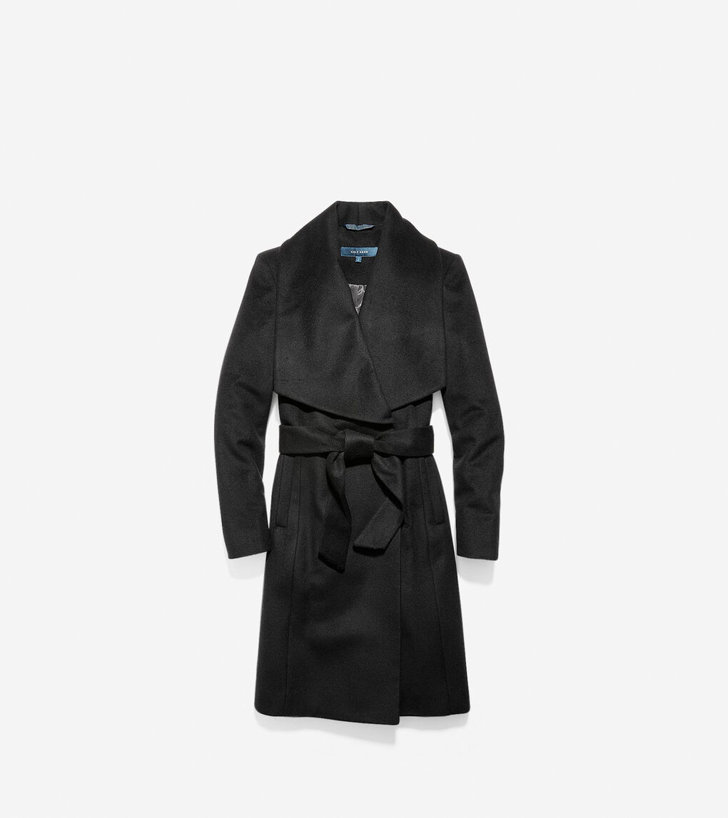 Womens Slick Wool Wrap Coat