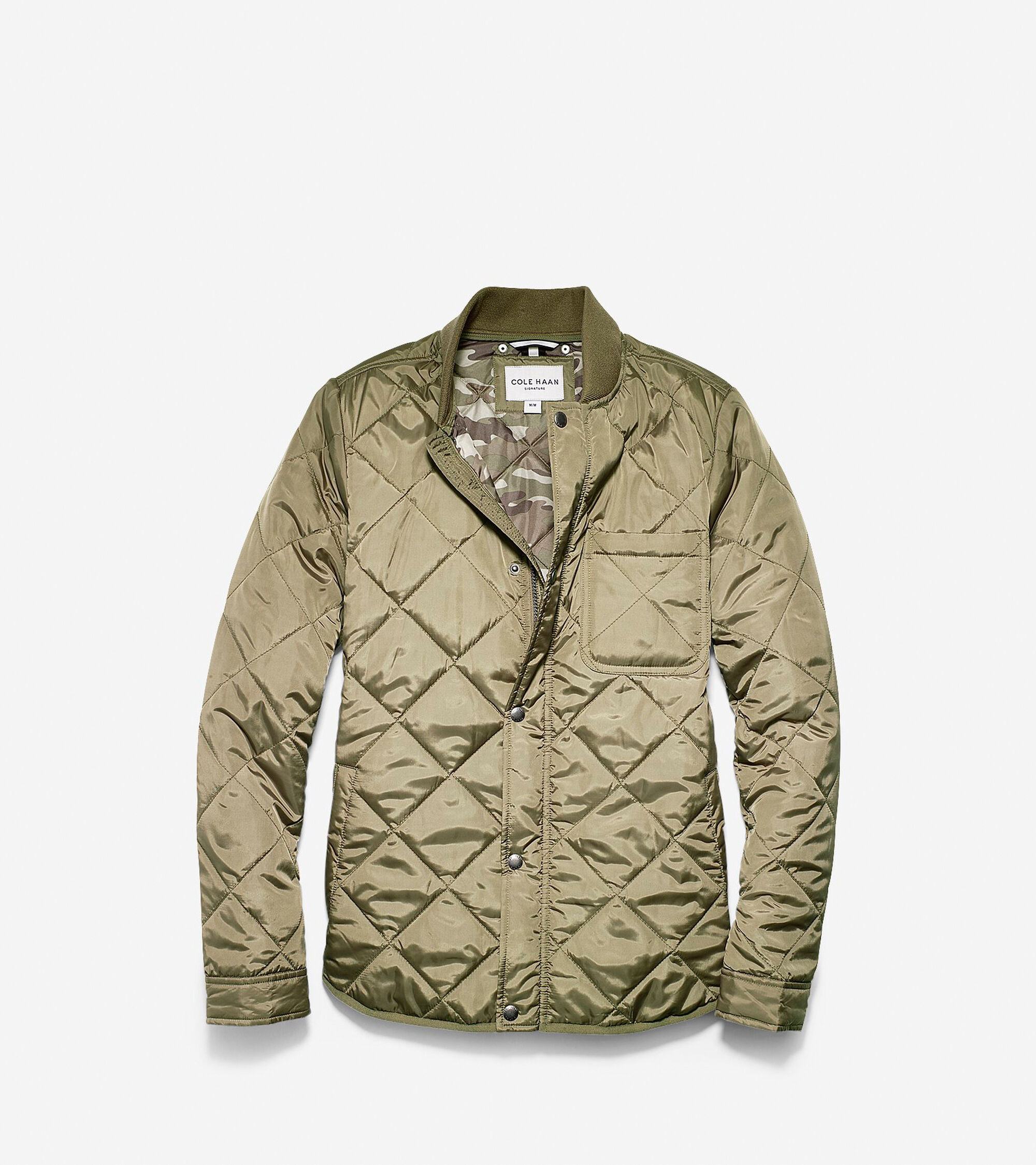 Mens Quilted Varsity Jacket In Olive Cole Haan