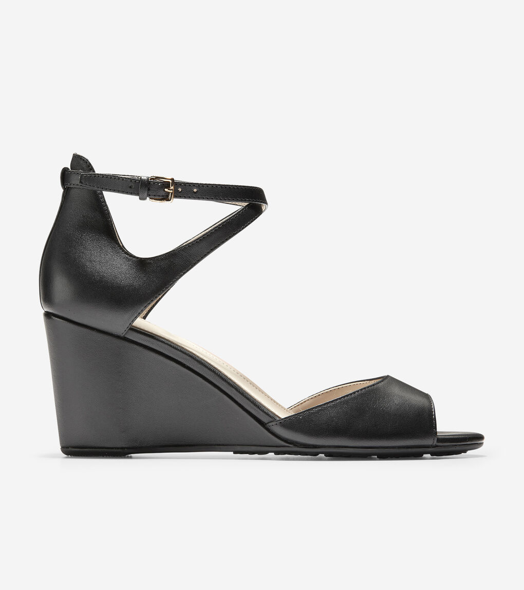 13d0f9ba15 Women's Sadie Open Toe Wedge Sandal (75mm) in Black Leather | Cole ...