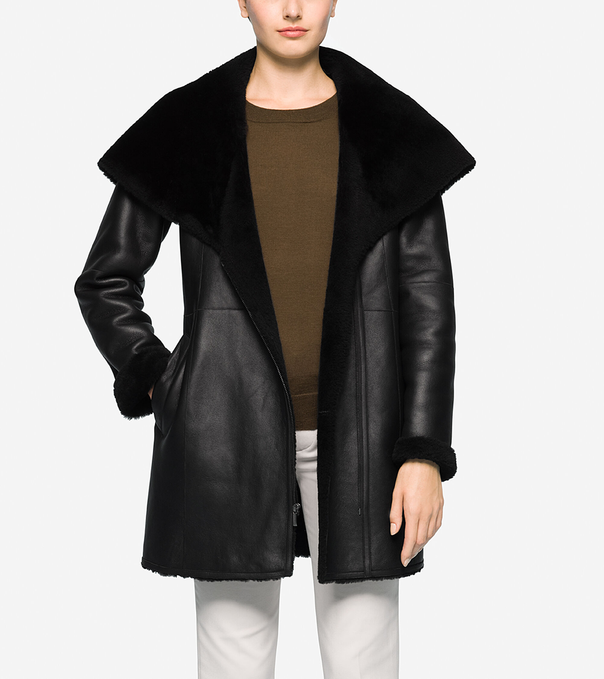 Hooded Shearling Coat in Black  79a11b6fd