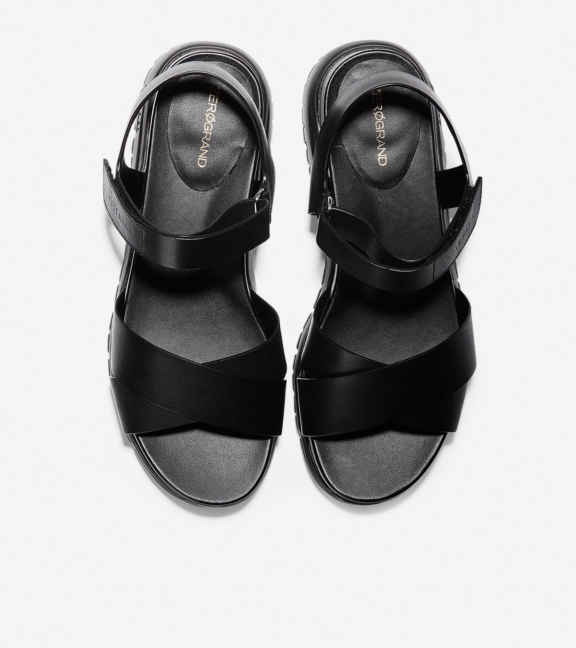 Criss Cross Sandal in Black Leather