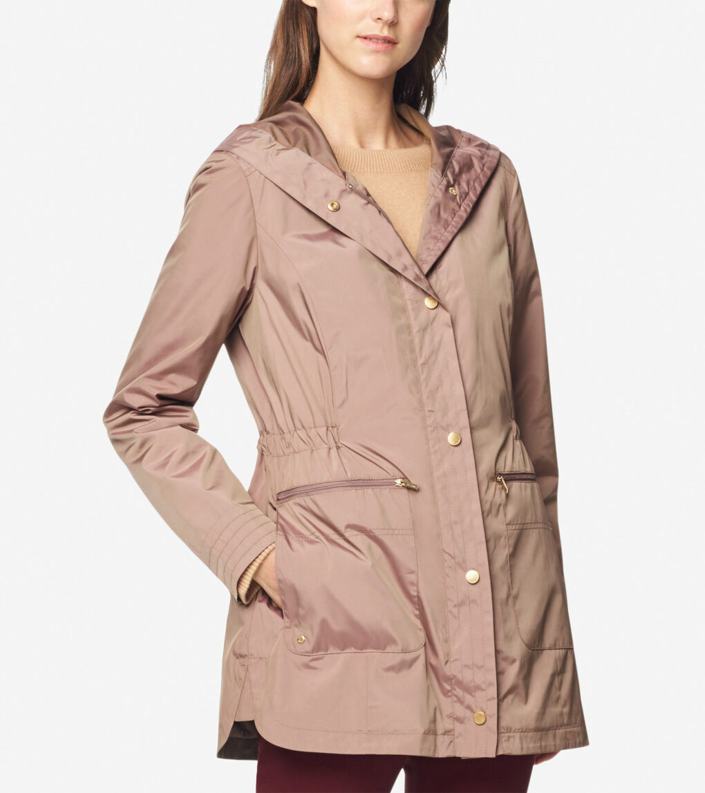 Womens Quilted Lined Travel Rain Jacket