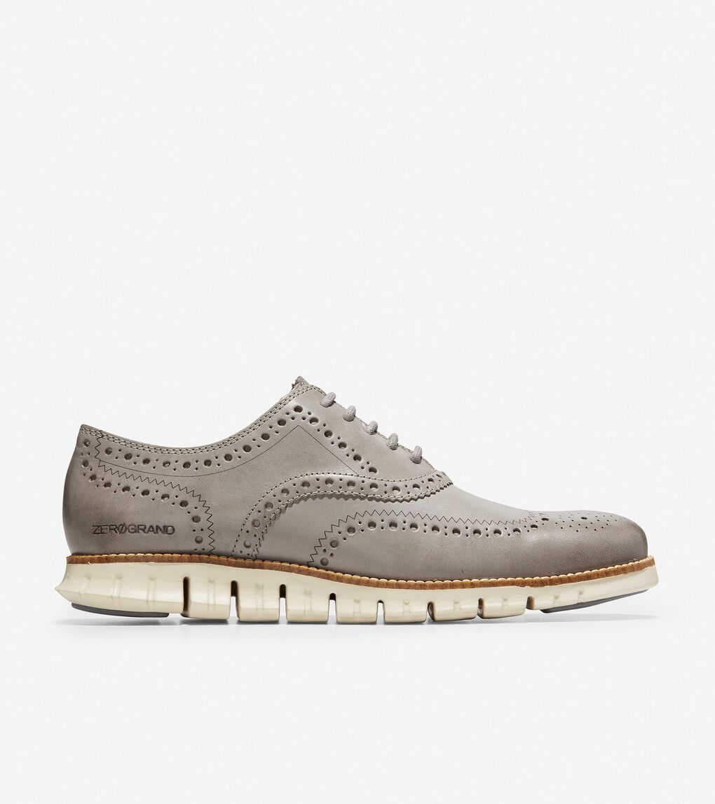 5a1b3591d0 Men's ZERØGRAND Wingtip Oxford in Ironstone Leather-ivory | Cole Haan US