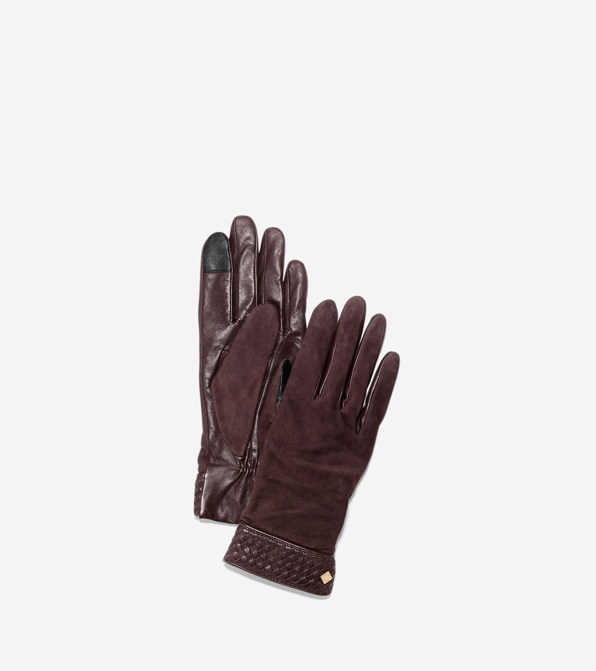3e300d9ee0f Women's Braided Cuff Suede Gloves in Mahogany | Cole Haan