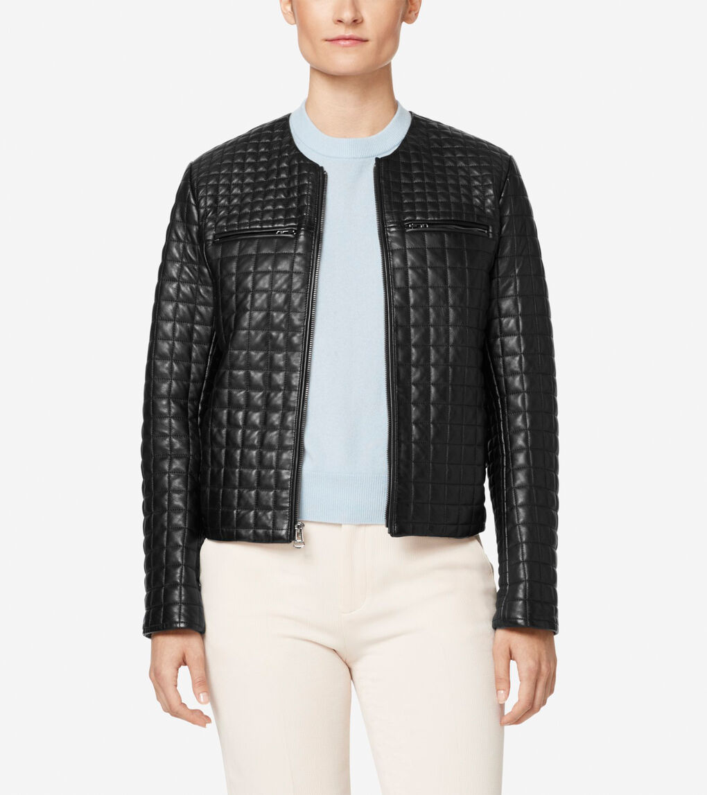 Womens Quilted Collarless Jacket