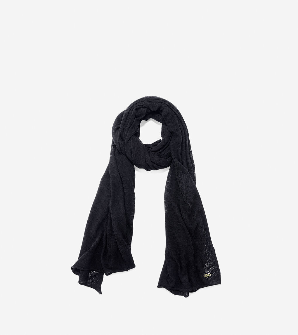 7b58557f5a6cc Women's Cashmere Blend Scarf in Black | Cole Haan US