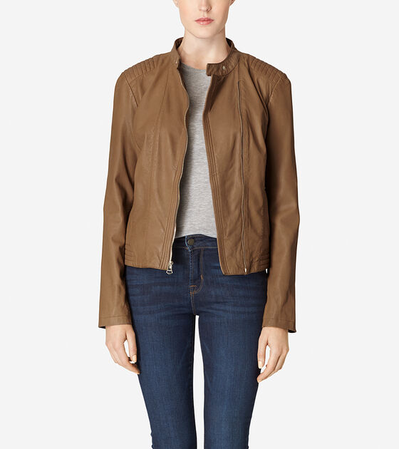 Accessories & Outerwear > Asymmetrical Washed Leather Racer Jacket