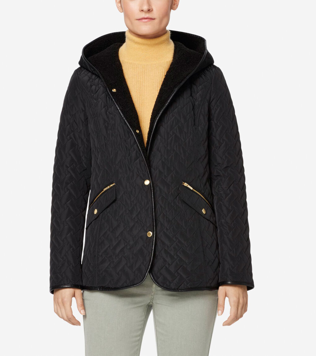 Womens Signature Sherpa Lined Quilted Jacket