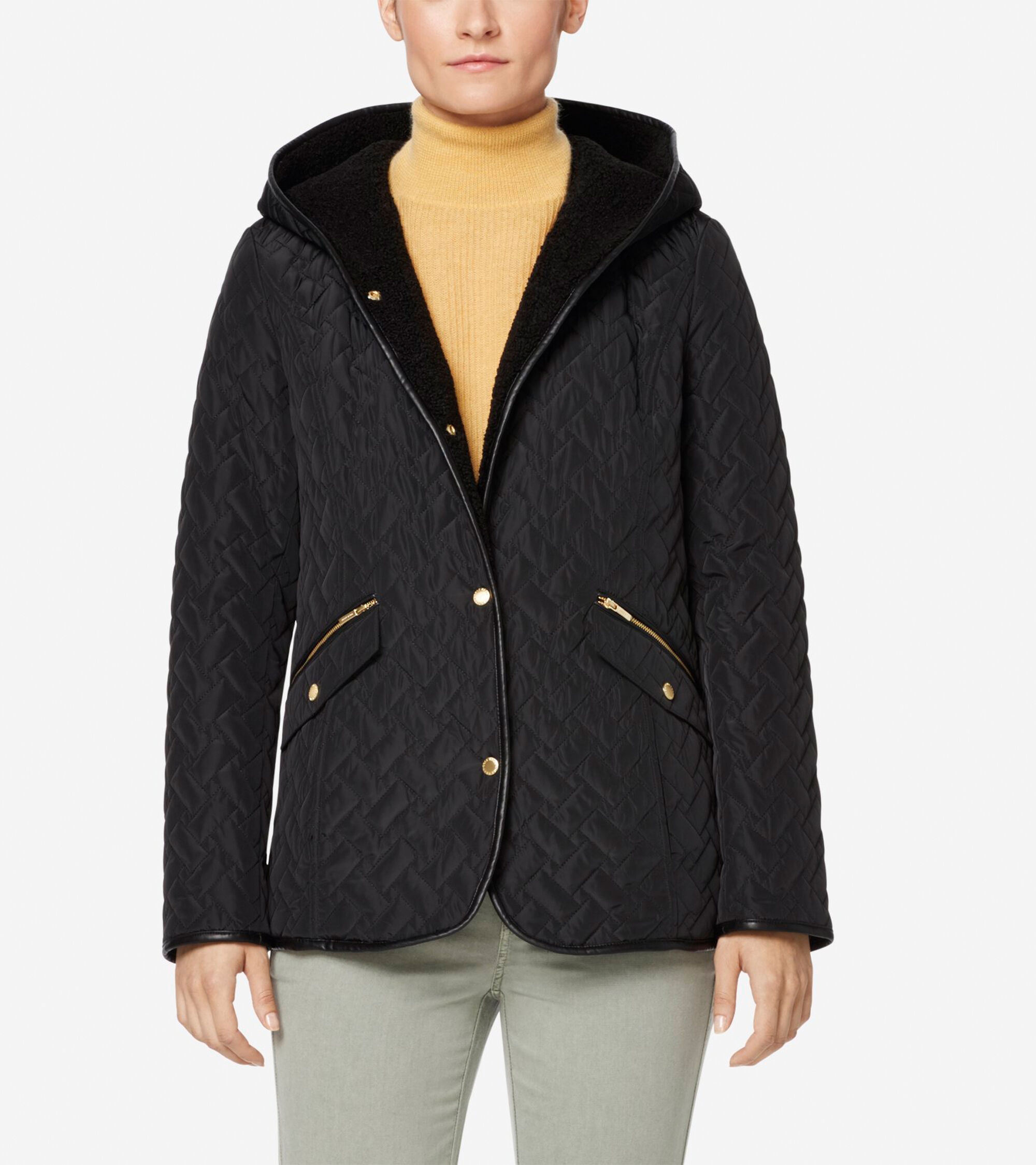 Womens Signature Sherpa Lined Quilted Jacket In Black Cole Haan