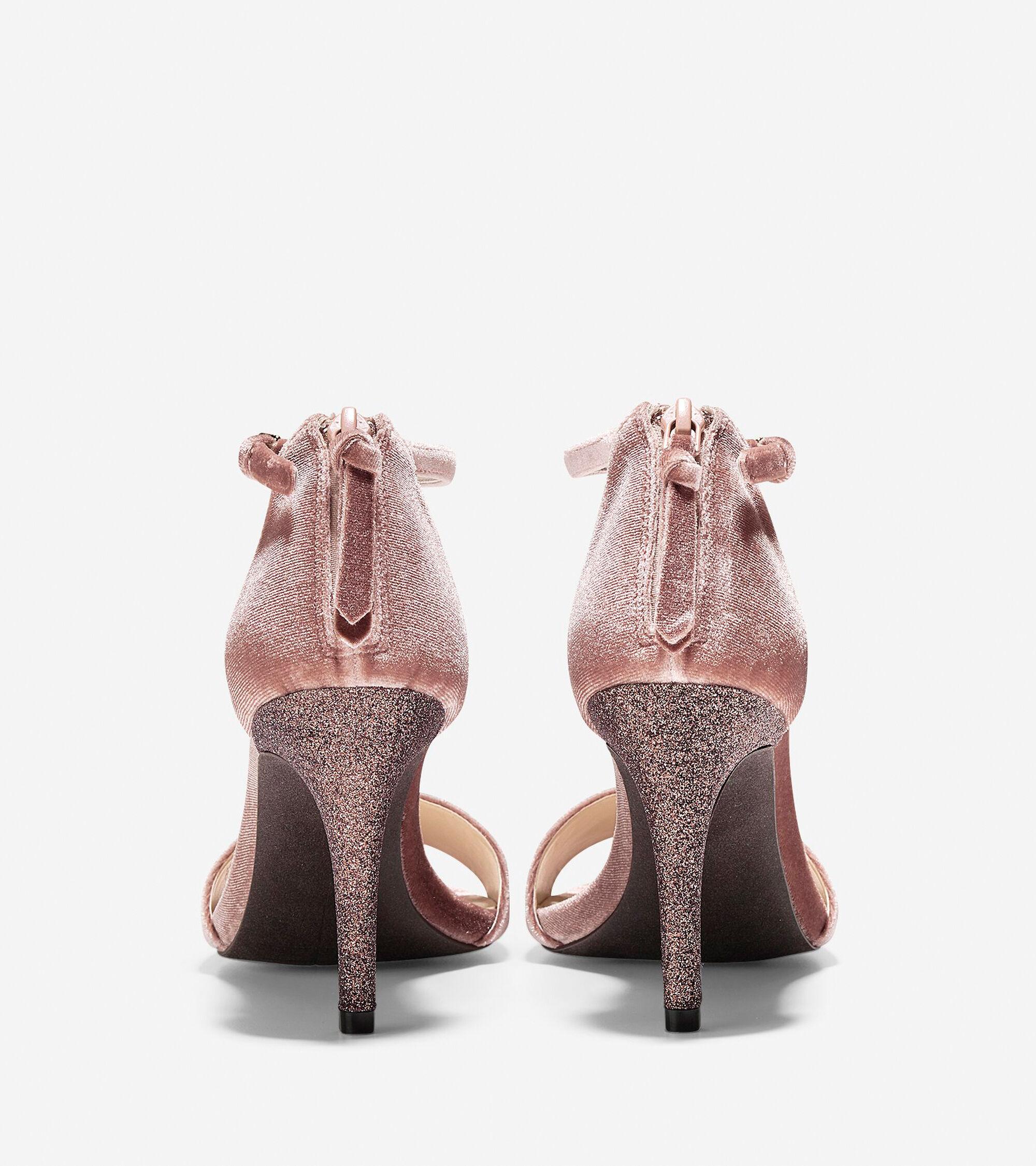 dc6bbbdbac76 Clara Grand Sandals 85mm in Nude Velvet-Glitter