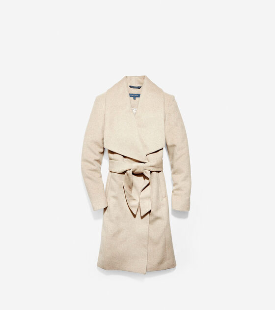 Outerwear > Slick Wool Wrap Coat