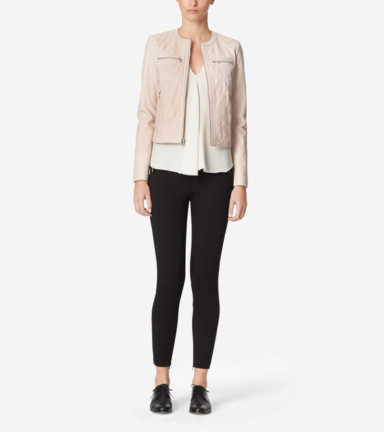 Womens Collarless Leather Jacket In Canyon Rose Cole Haan