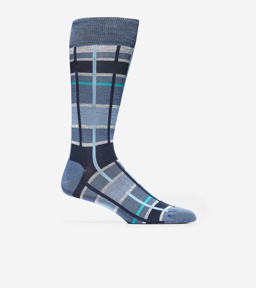 MENS Broken Plaid Crew Socks