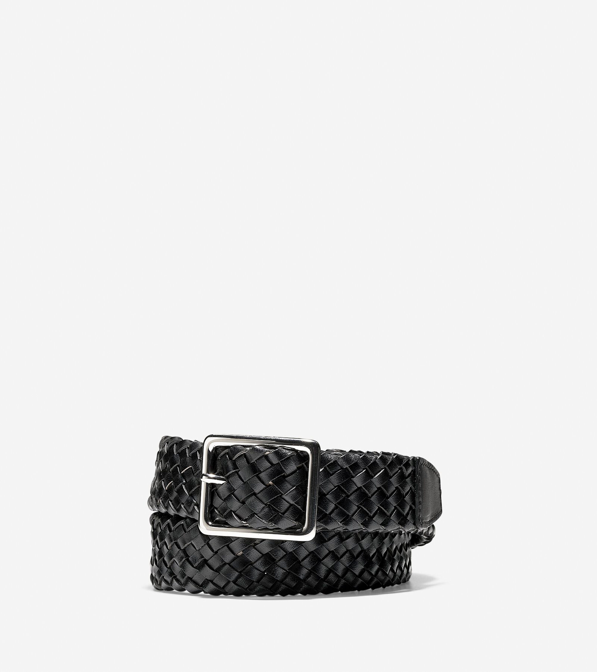 Cole Haan Mens 32mm Tubular Woven Leather Belt