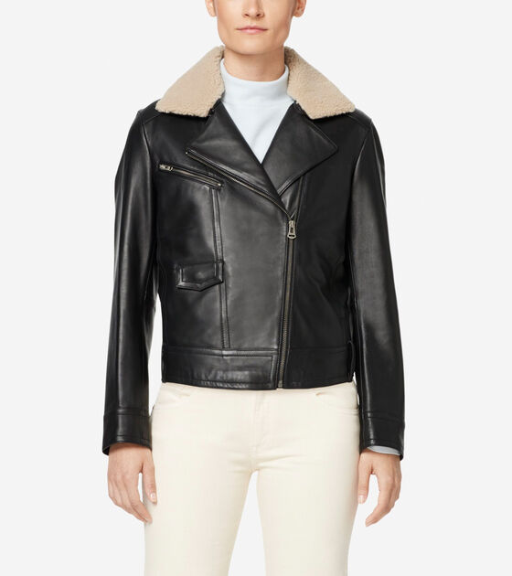 Outerwear > Leather Moto Jacket with Shearling Collar