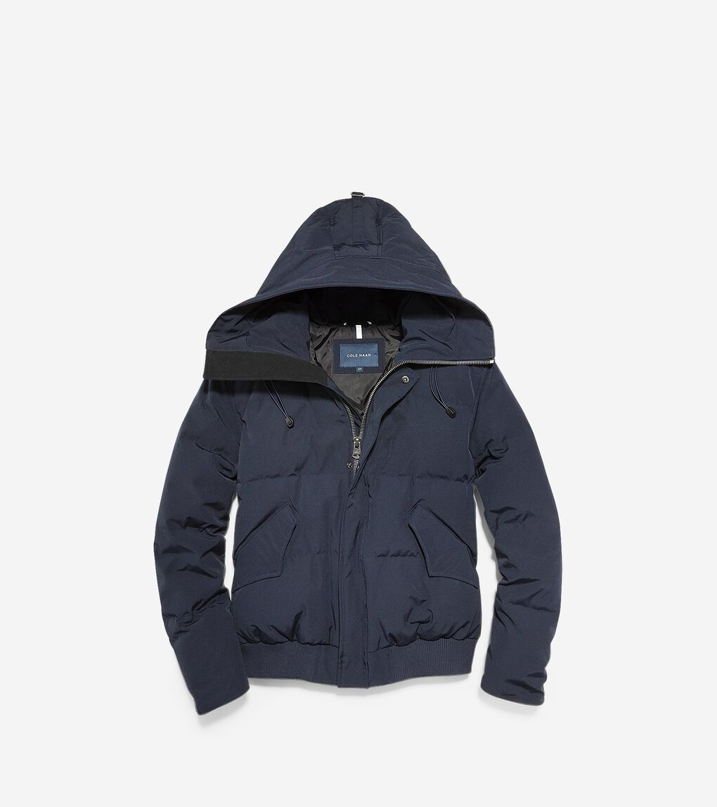 Mens Oxford Down Hooded Bomber Jacket