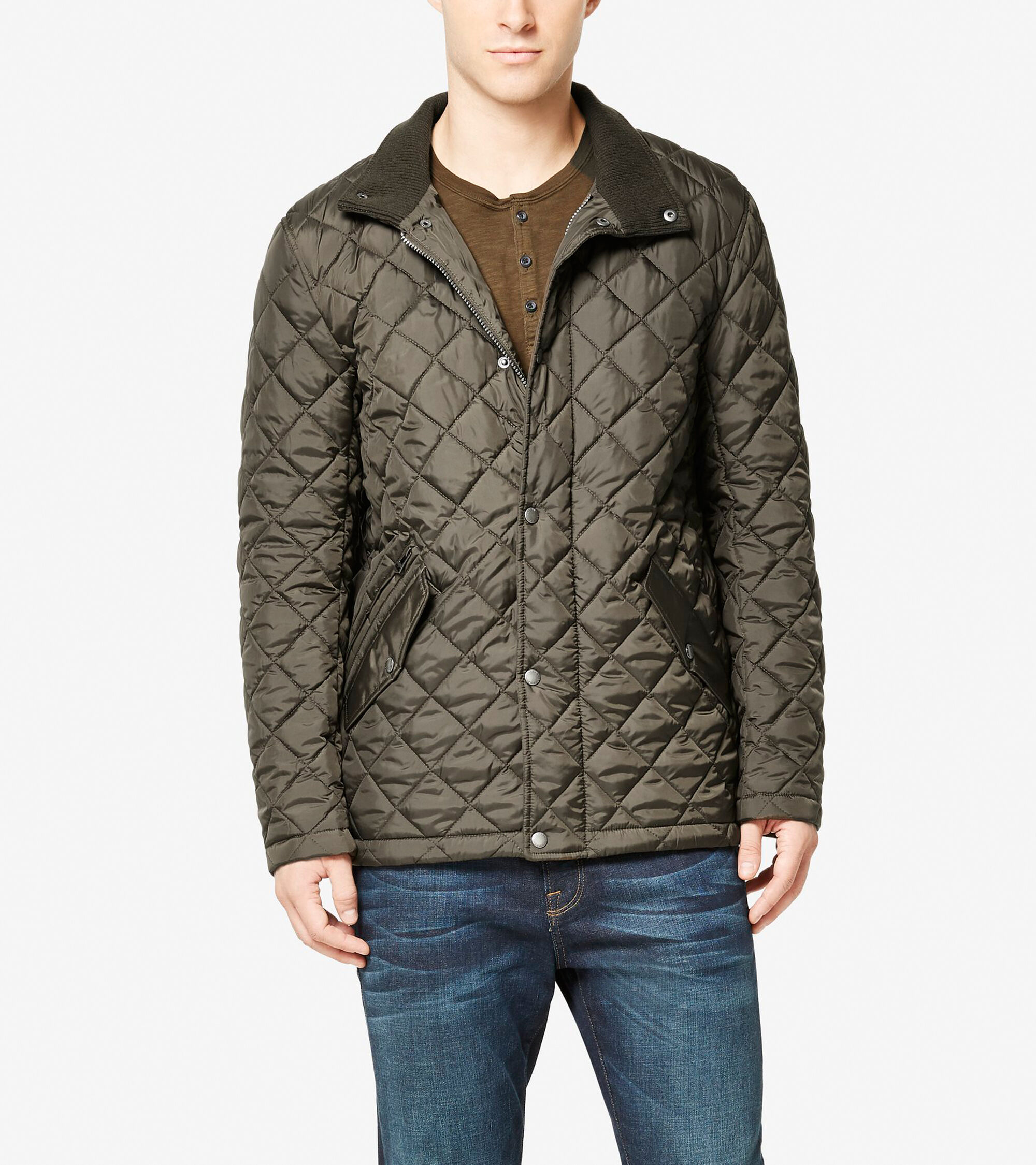 Mens Quilted Barn Jacket In Olive Cole Haan