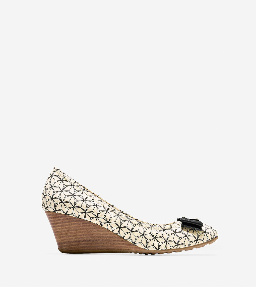 e14d2310c Tali Grand Bow Wedges 65mm in Black-White Prism Print | Cole Haan