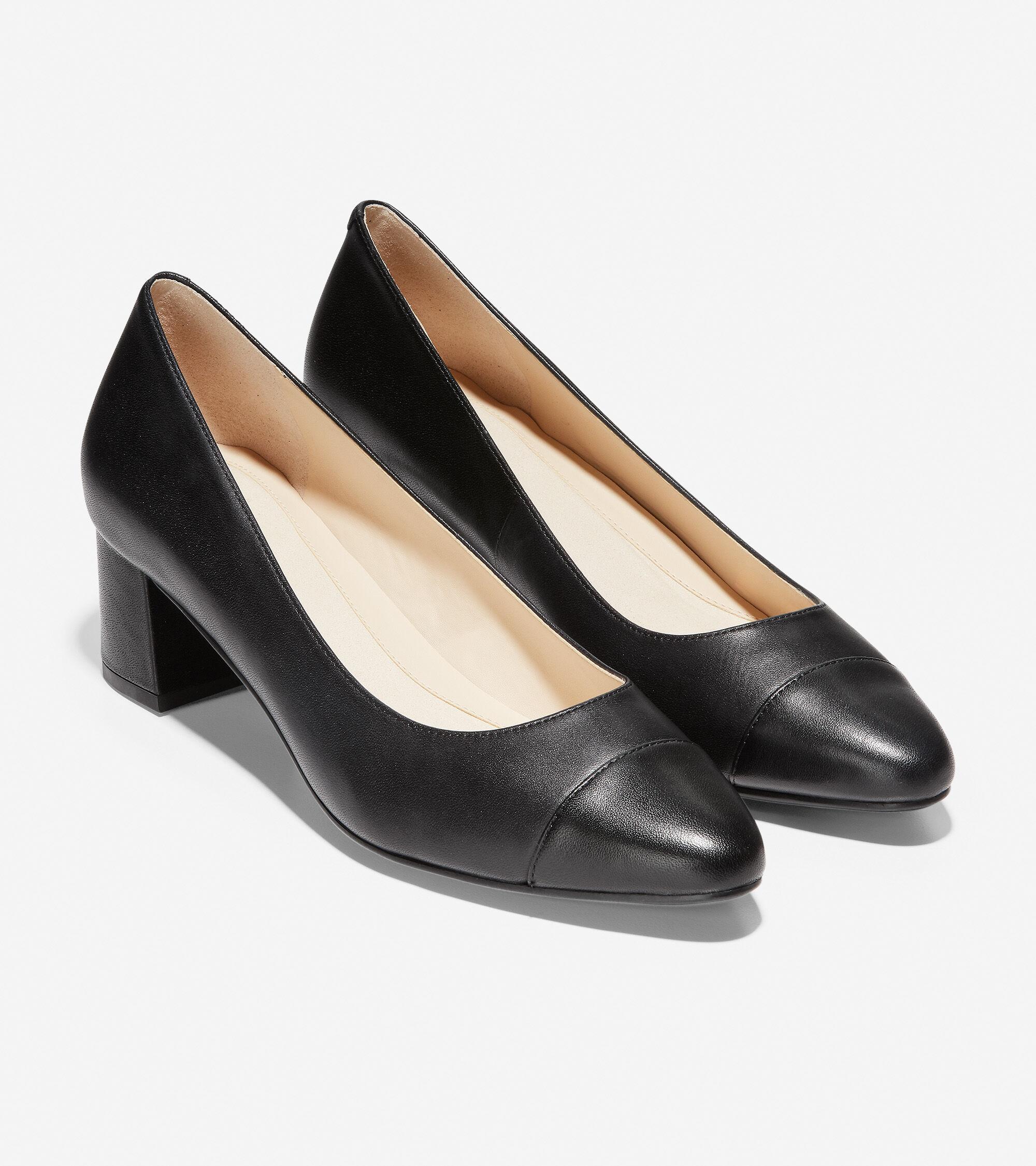 Go-To Block Heel Pump in Black Leather