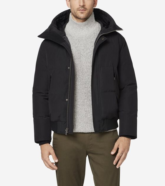 Outerwear > Oxford Down Hooded Bomber Jacket
