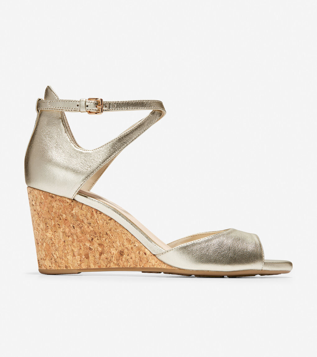 db4db4905a Women's Sadie Open Toe Wedge Sandal (75mm) in Soft Gold Metallic ...