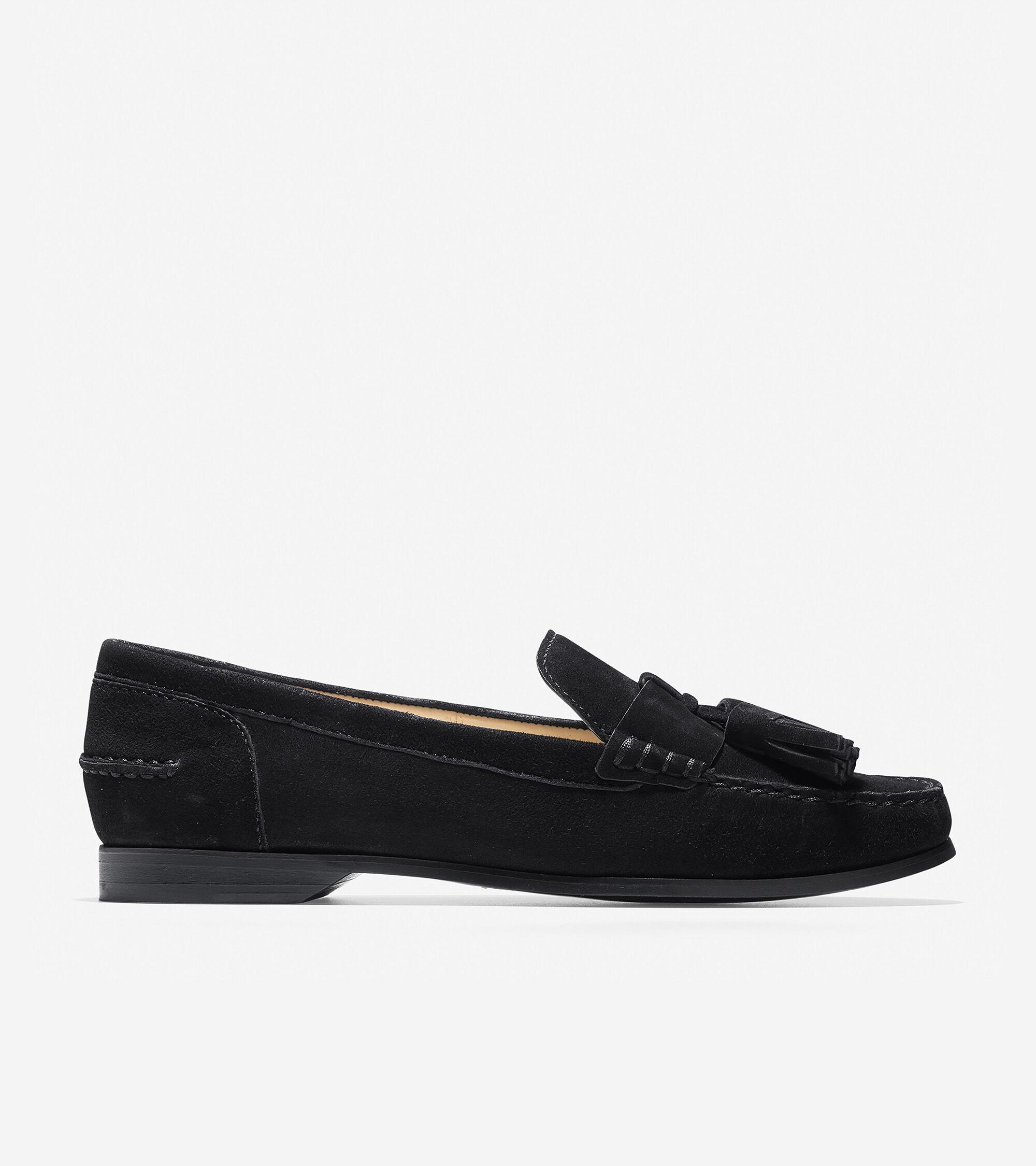 Emmons Tassel Loafer in Black Suede