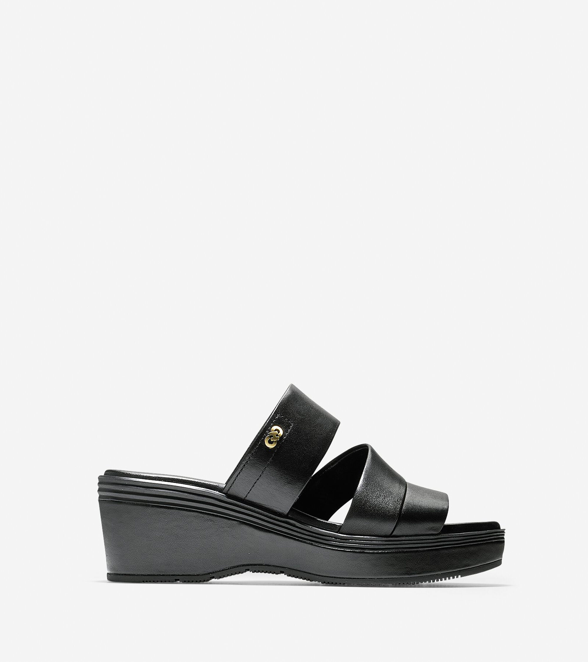 d24b834a0d85 Cole Haan Allesa Grand Wedge Sandal (55mm) in Black Leather   ColeHaan.com