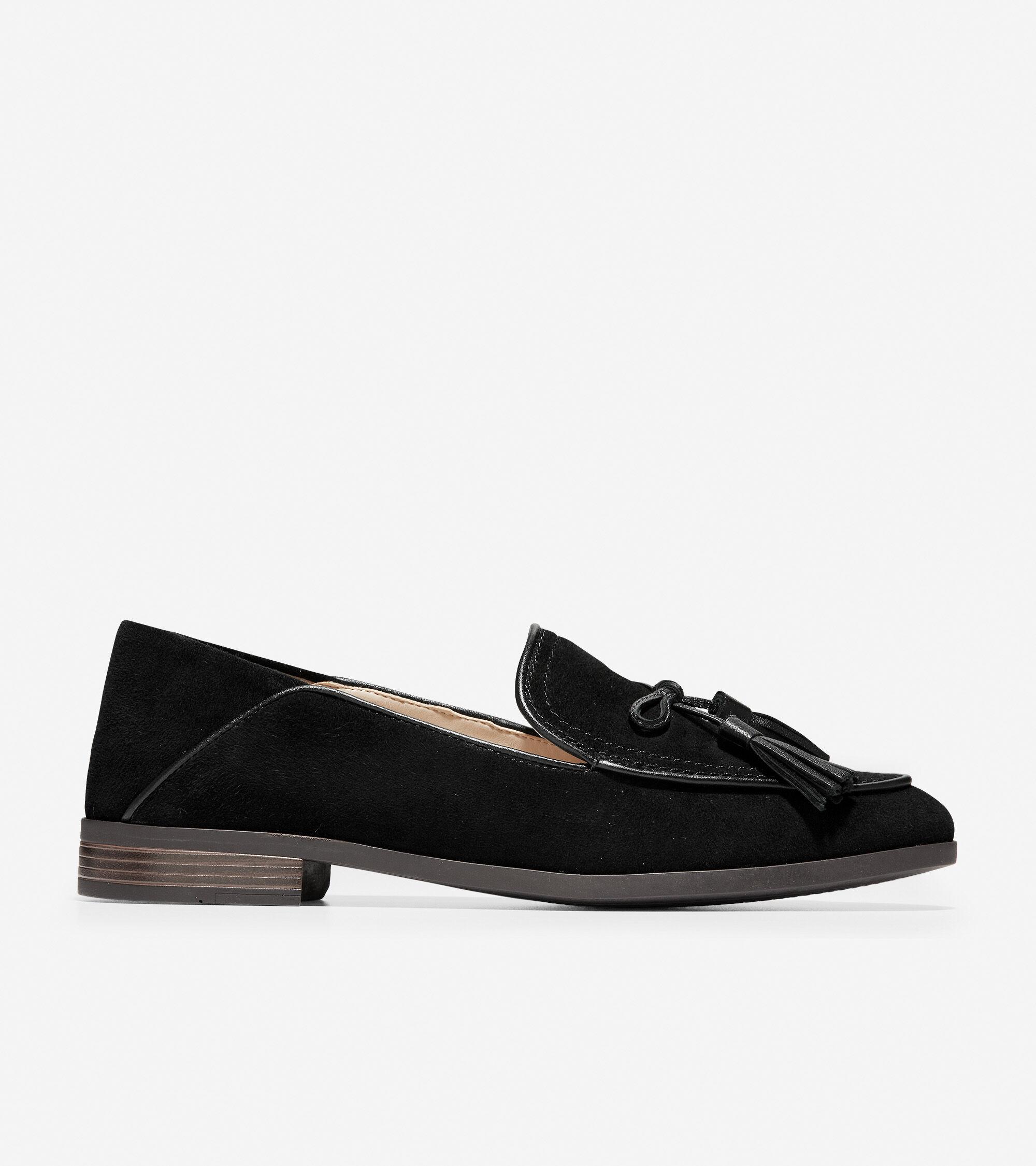 Pinch Soft Tassel Loafer in Black Suede