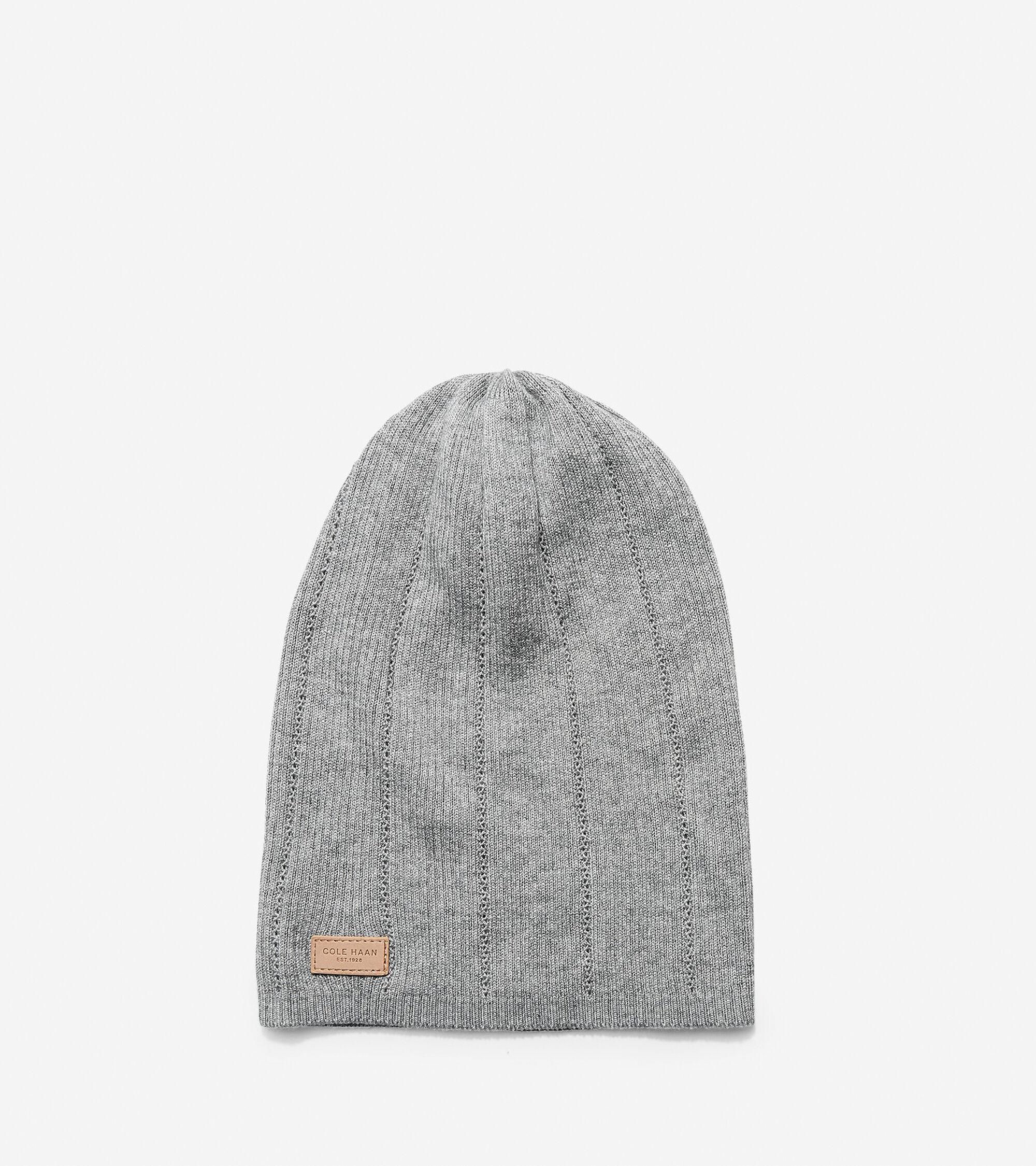 Women s Cashmere Blend Rib Pointelle Slouchy Beanie Hat in Light Gray  fe264baaa33