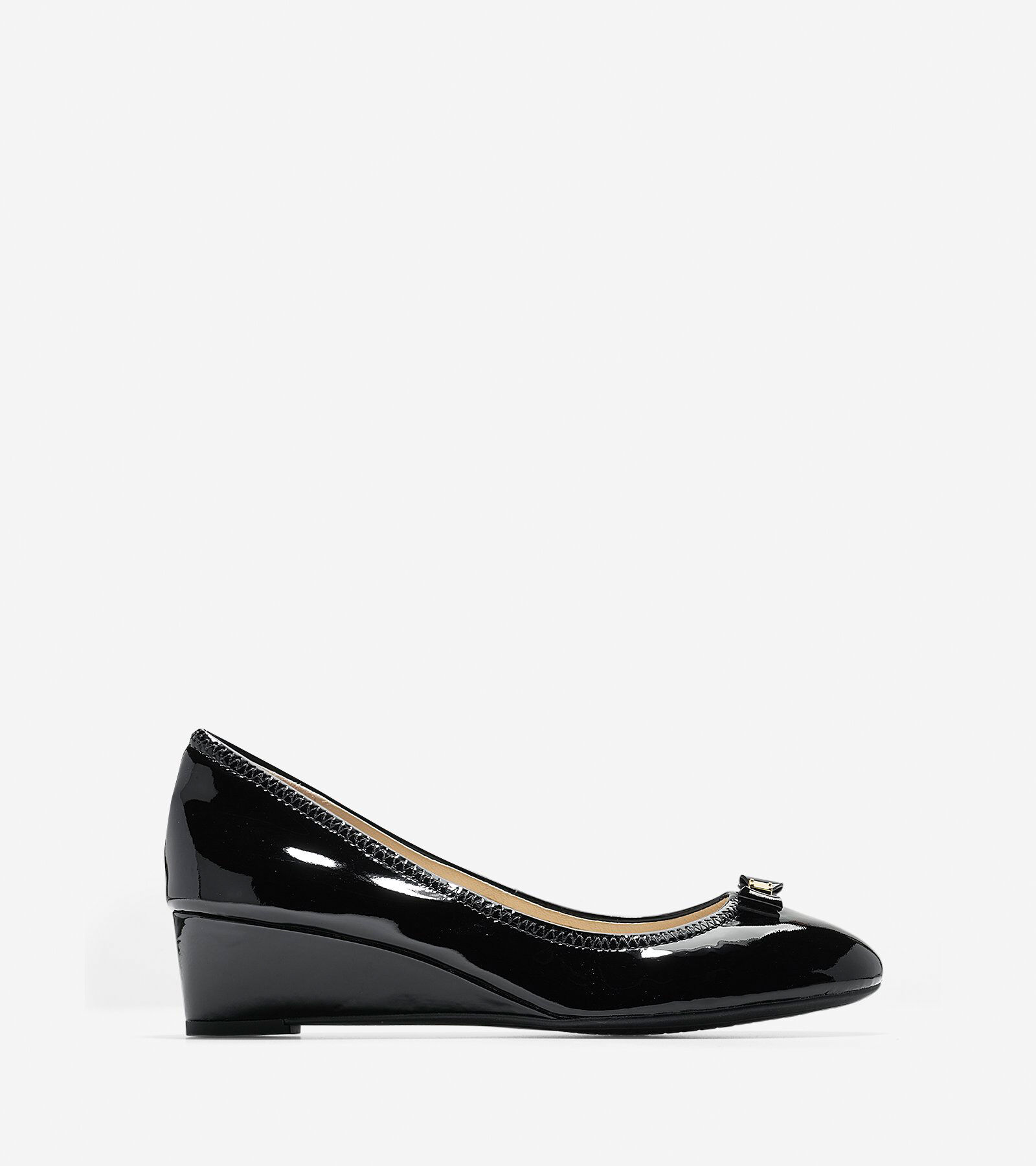Women Cole Haan Oxford Shoes Black Patent Leather Bow Shoes NEW