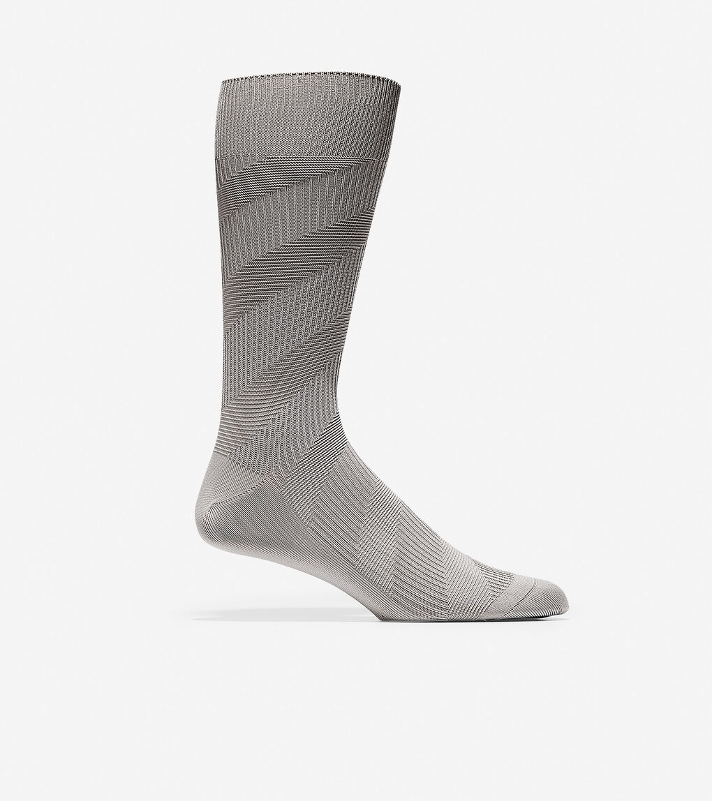 Mens Diagonal Chevron Texture Crew Socks