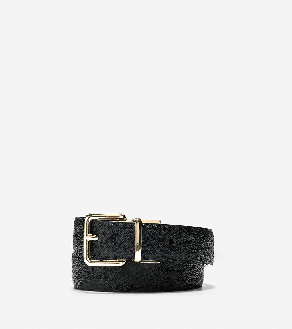 Womens Reversible Saffiano/Patent Leather Belt