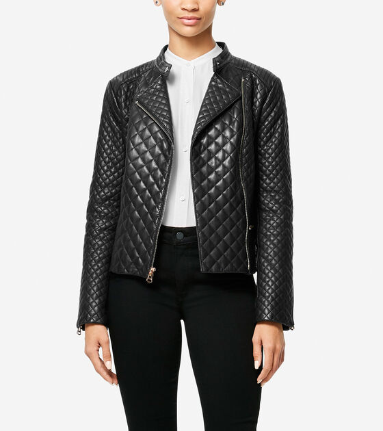 e1b90e9e04 Women s Italian Smooth Lambskin Quilted Moto Jacket in Black