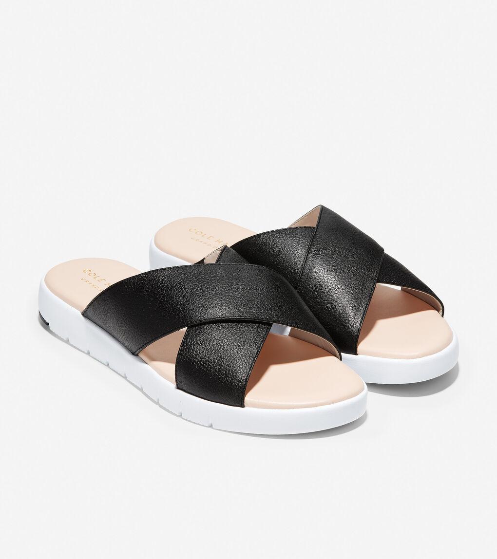 Womens ZERØGRAND Criss Cross Slide Sandal