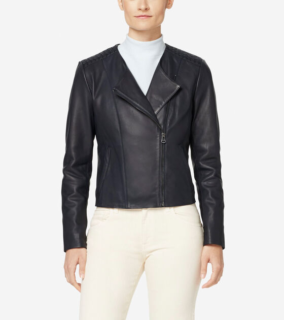 Outerwear > Braided Leather Lambskin Jacket