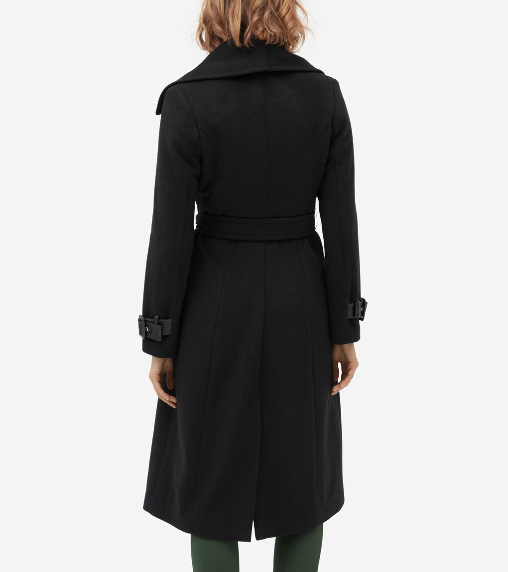 WOMENS Wool Wrap Coat With Leather Trim