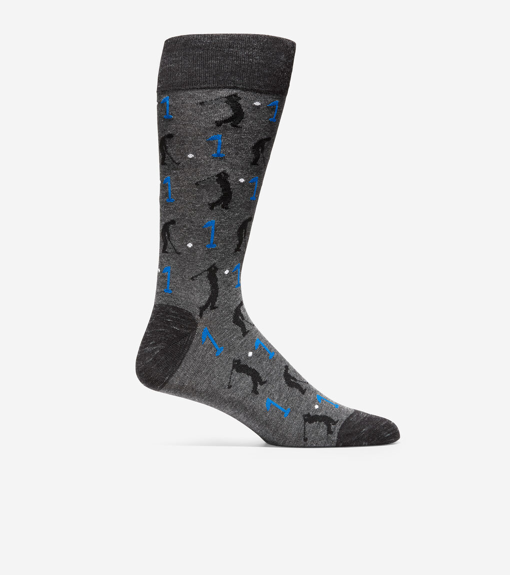 MENS Golfer Print Crew Socks
