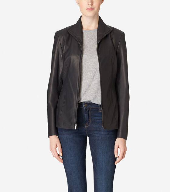 Accessories & Outerwear > Italian Leather Wing Collar Jacket