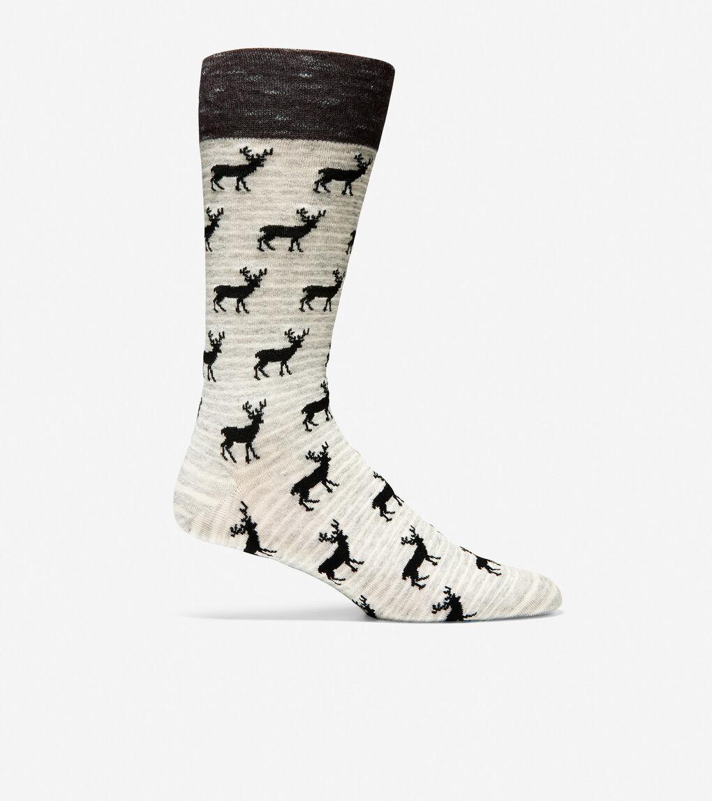 Mens Deer Print Dress Socks