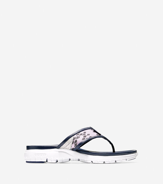 464582e0d676 ZEROGRAND Thong Sandals in Liberty Print - Denim